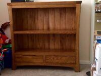 Oak low wide bookcase