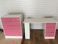 Desk / dressing table and chest of drawers