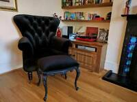 Moulin Noir Black Footstool Dressing Table Stool Perfect Condition