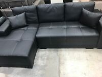 CORNER SOFA BED- LEFT HANDED- FAUX LEATHER- BLACK SOFA- DELIVERY AVAILABLE