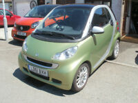 Smart Fortwo Coupe Passion MHD 2012 in Matt Green. Full Mercedes service history & MOT March 2019