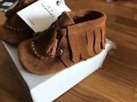 New: Zara Mini Real Suede Shoes, 6-9 months. RRP £23