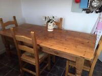Solid Pine Country Style Dining Table set for sale
