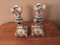 """1890s French Faience Rouen majolica candlesticks, 10"""" tall, 4"""" base, blues"""