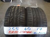 SET OF 4 MATCHING 255 40 17 BRIDGESTONE R/FLATS 6mm TREAD £70 PAIR SUP & FITD £120 SETopn sat 9-5pm