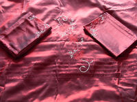 Double Bed Embroidered Taffeta Duvet Set In Wine