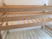 Custom loft bed solid pinewood 140 x 200cm