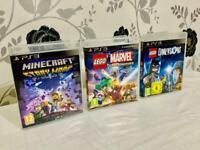3x PlayStation 3 PS3 Games (Minecraft| Lego Dimensions| Lego Marvel Super Heroes