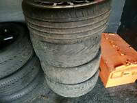 """18"""" FORD RS REPLICA WHEELS 5 STUD WITH 2 GOOD TYRES AND 2 BAD, IN AVERAGE CONDITION £120"""