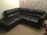 DFS black leather right hand arm corner sofa settee