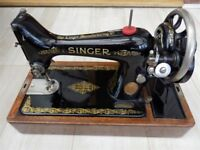 Vintage Singer Sewing Machine 99k, Circa 1920's With Case & Accessories