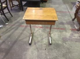 Old Mid Century Vintage Industrial School Desk Adult Laptop Office
