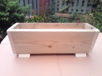 NEW WOODEN FLOWER PLANTERS, MANY SIZES/COLOURS, TREATED FLOWER BOXES.