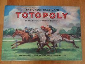 Totopoly Vintage Board Game 1949 Waddington - Horse Racing
