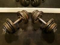 2 x 28kg dumbells cast iron adjustable spinlock dumbbell weights