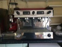SANREMO coffee machine and grinder. Two large tray trolleys