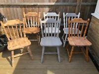 6 pine chairs, shabby chic