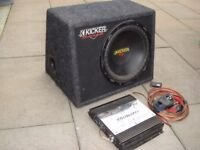 """12"""" Kicker Sub in box+ voice kraft amp 800wat with all cables needed"""