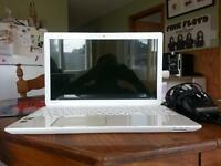 beautiful white Toshiba laptop basically brand new
