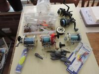 Sea angling tackle: various reels, hooks, lures and traces