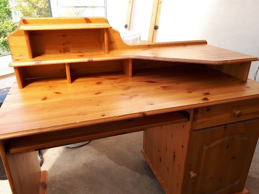 Pine Desk With Sliding Keyboard Shelf And Multiple Storage Areas