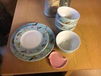 Dunelm dinner set- bird design