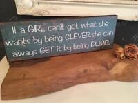 Teal Wooden Shabby Chic Quote Wall Plaque Picture