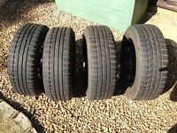 4 WINTER TYRES ON STEEL RIMS 205/55/R16 FITS VW PASSAT 2008 AND OTHER VEHICLES - 6-7 MM OF TREAD
