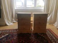 Matching pair solid wood bedside cabinets