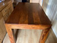 Solid rosewood dining table and 4x faux leather chairs