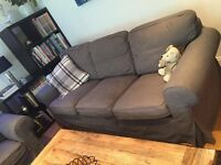 Set of Ikea three-seater Ektorp sofa plus two arm chairs