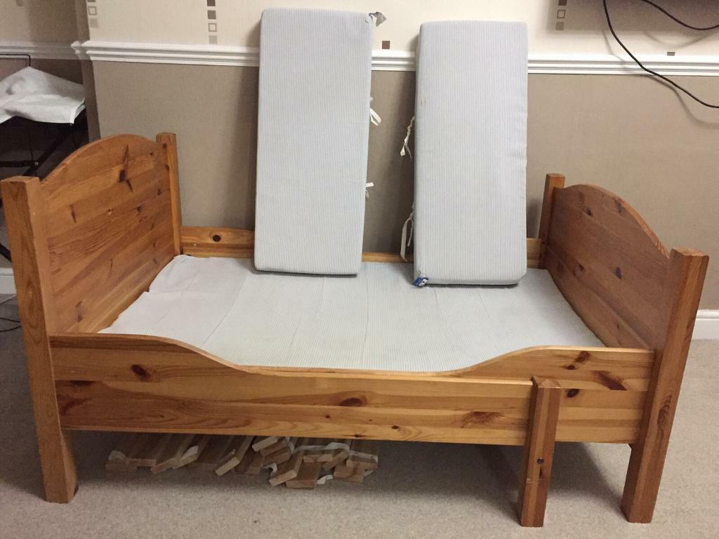 Ikea Busunge Extendable Wooden Child Bed With Mattress
