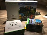 XBOX ONE S MINECRAFT EDITION WITH EXTRA CONTROLLER AND GAMES - ALL BOXED