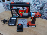 Black&Decker 18 Volt Lithium-ion Cordless drill with 2 x 1.5 AH batteries and charger