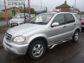 Mercedes ML270 Auto,2685 cc 4x4,full MOT,full heated leather interior,side steps,tow bar fitted