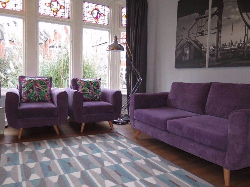 Purple Retro Inspired DFS 3 Seater Sofa & 2 Matching Armchairs ...