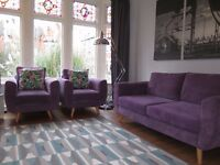 Purple Retro Inspired DFS 3 Seater Sofa & 2 Matching Armchairs Suite