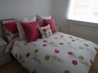 Lovely Pink Floral bedding set (double), with matching vases