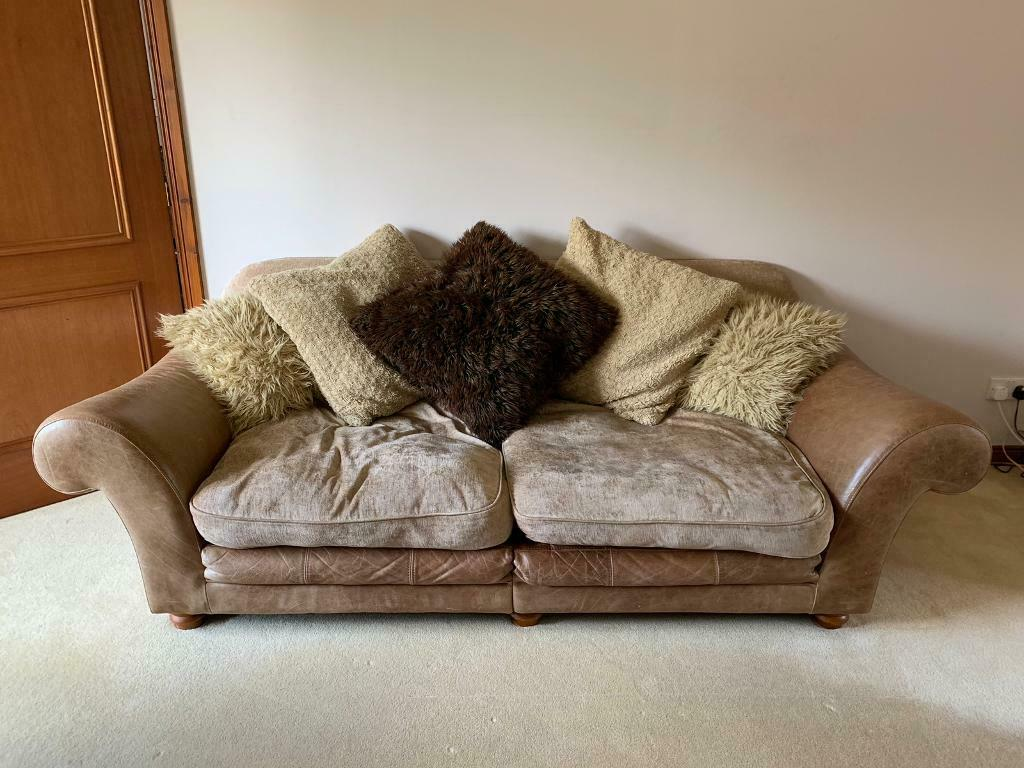 Pair Of Leather And Fabric Pillowback Sofas In Kingswells Aberdeen Gumtree