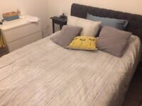 King Size Dark Grey Fabric Ottoman Bed/ Silentnight Ortho mattress