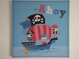 NEXT BLUE BLACK OUT PIRATE CURTAINS 117 X 137 CM & MATCHING PAIR OF PIRATE CANVAS PICTURES