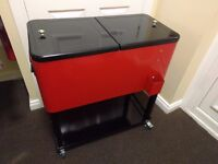 Red Drinks Cooler (73L capacity) with wheels (RRP £99.99)