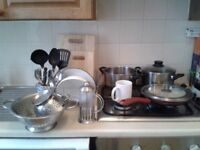 cookware and tableware (£10 for everything in photo, good condition)