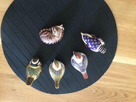 Royal Crown Derby collectables four birds one cat mint condition