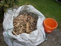 Large sack of chopped wood kindling. clean & dry ready to light your fires