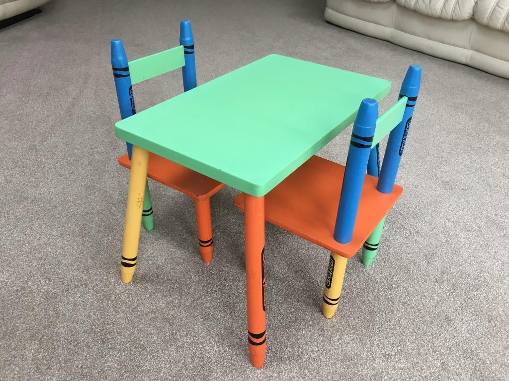 Outstanding Crayon Childrens Wooden Table And Chair Set Colourful Crayons In Earley Berkshire Gumtree Ocoug Best Dining Table And Chair Ideas Images Ocougorg
