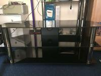 Black large glass tv stand