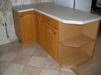 Kitchen unit wood doors breakfast bar and top three wall units 2 double larder unit sink