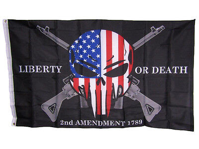 3x5 Liberty or Death 2nd Amendment USA Punisher Skull Rifles 1789 Flag 3'x5' (T)