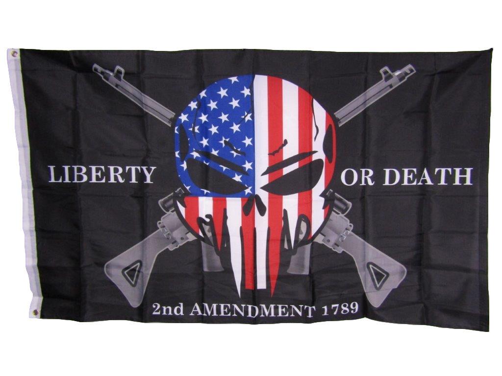 3x5 Liberty or Death 2nd Amendment USA Punisher Skull Rifles